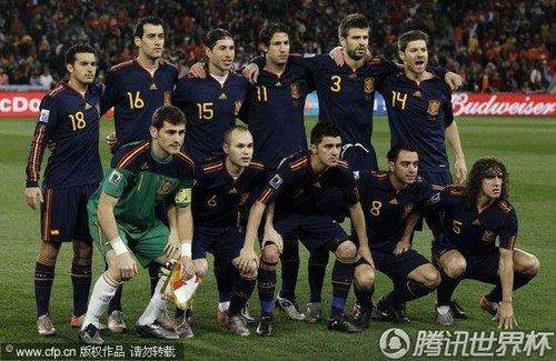 图文:荷兰VS西班牙 西班牙队合影