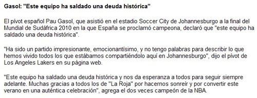 加索尔:这支西班牙创造了历史 欣喜难以言喻