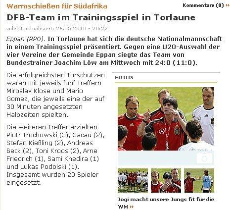 训练赛-德国24-0狂扫青年军 锋线双煞共10球