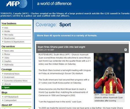 法新社:吉安为加纳踢飞美国 非洲因他而自豪