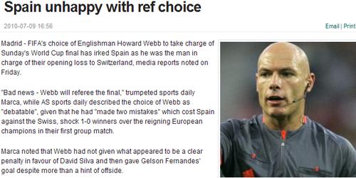 西班牙对决赛主裁韦伯头疼 爆冷瑞士全因为他