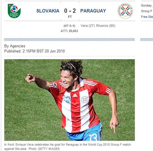 每日电讯:巴拉圭轻取3分 南美5球队全线飙红