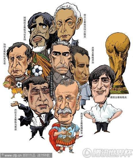 漫画:世界杯8强争锋 谁可胜出?
