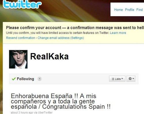卡卡织微博祝贺西班牙 罗纳尔多:我支持章鱼