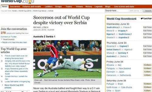 澳大利亚先驱报:以一场胜利光荣离开世界杯