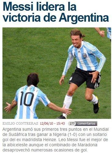马卡报:领袖梅西带领阿根廷 获得小组赛首胜