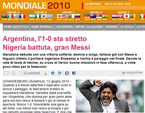 米兰体育报:阿根廷胜利艰难 早该换上米利托