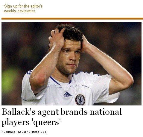 巴拉克经纪人曝骇人消息 德国队中存在同性恋
