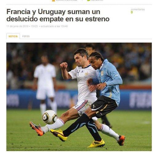 墨媒Terra:法国0-0乌拉圭  一场沉闷的平局