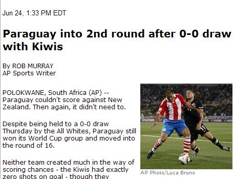 美联社:新西兰积3分遭淘汰 巴拉圭安全晋级
