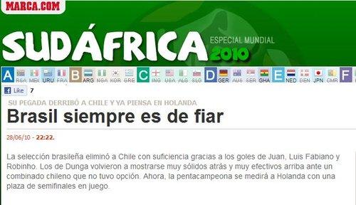 马卡报:3球完胜智利 五星巴西总是值得信赖