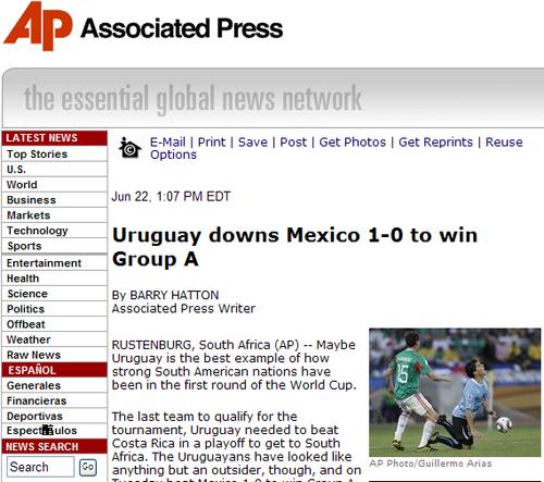 美联社:南美强势第一棒 乌拉圭小组头名出线