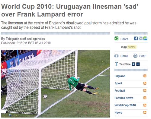事后承认兰帕德进球有效 乌拉圭边裁追悔莫及