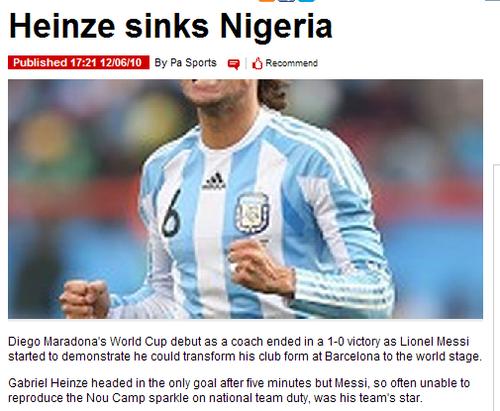 镜报:阿根廷老将击落非洲雄鹰 梅西还没感觉