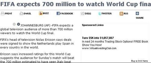 FIFA预计决赛观众7亿 或超北京奥运会开幕式