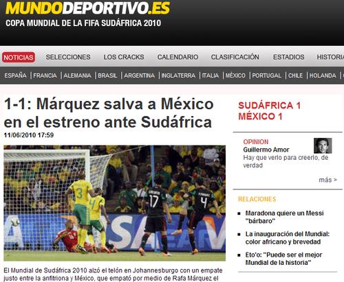 世界体育报:南非墨西哥平局 法国乌拉圭获利
