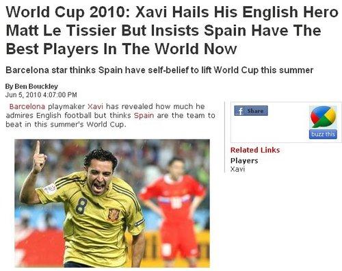 哈维自曝心中第一偶像 自信西班牙必夺世界杯
