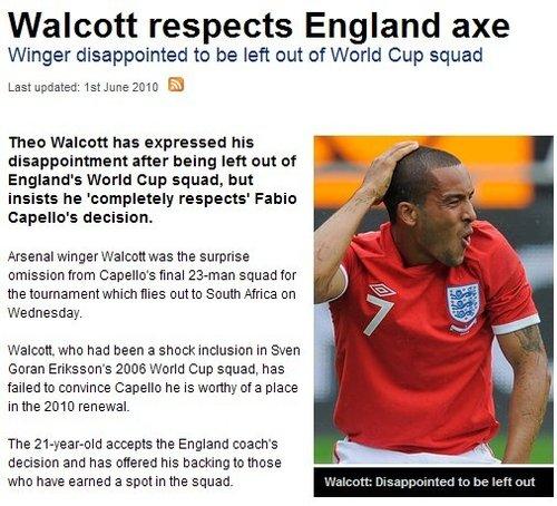 沃尔科特遭弃很失望 尊重教练决定祝福英格兰