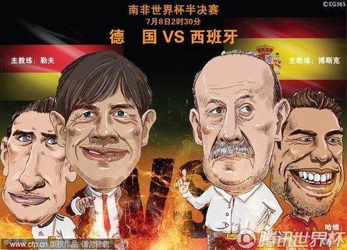 漫画:南非世界杯半决赛——德国VS西班牙
