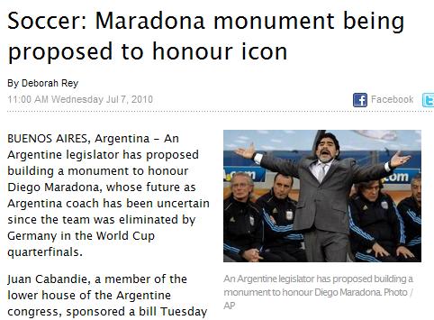 阿根廷欲为老马树立纪念碑 精神领袖堪比庇隆