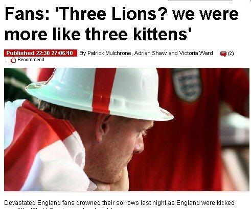 惨败阴霾笼罩英格兰 球迷怒斥三狮军团像小猫