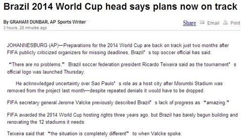 巴西足协主席直面质疑 有信心成功举办世界杯