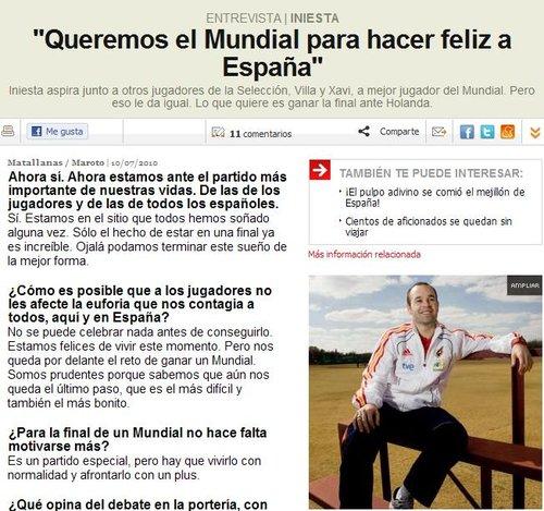 伊涅斯塔欲亲证西班牙最佳:决赛=子弹+玫瑰
