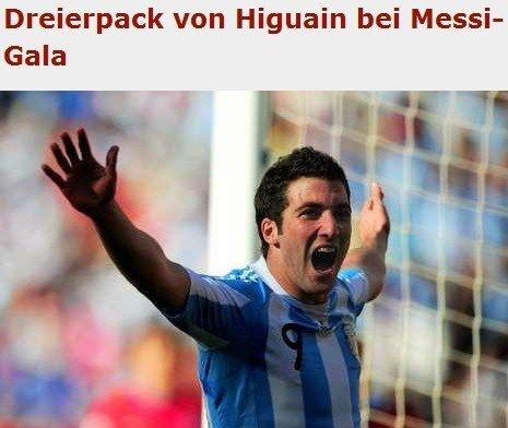图片报:梅西助伊瓜因帽子戏法 阿根廷发威了