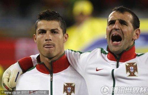 图文:西班牙VS葡萄牙 C罗不唱国歌_世界杯图