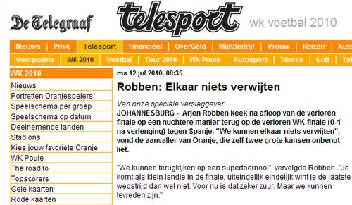 罗本:输球不应怪别人 荷兰走到今天值得高兴