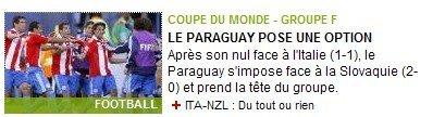 队报:巴拉圭轻取斯洛伐克 小组出线形势大好