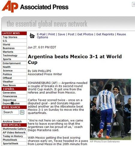 美联社:墨西哥复制三狮悲剧 阿根廷赢在实力