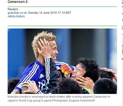 卫报:本田圭佑一球定乾坤 日本将昂首出线?