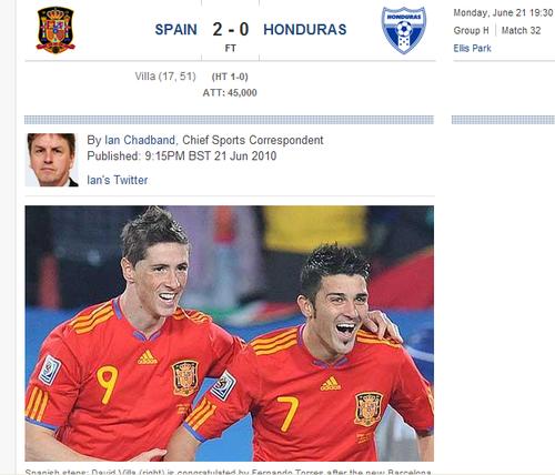 每日电讯:西班牙2-0洪都 攻势狂烈收获平淡