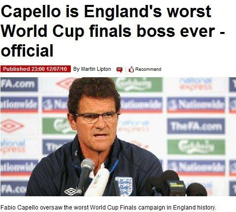 卡佩罗打造史上最差英格兰 周四面见足总谢罪