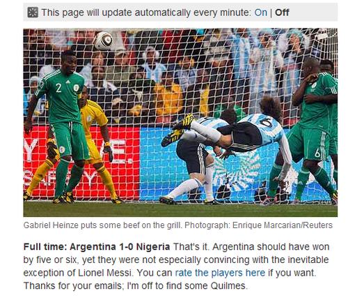卫报:阿根廷3分入袋 梅西射门也会有意外?