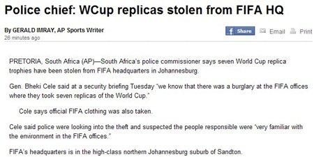 南非国际足联总部被盗 七座大力神杯不见踪影