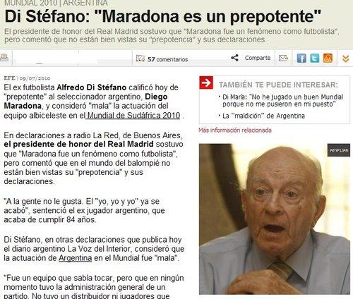 迪斯蒂法诺:马拉多纳毁掉阿根廷 梅西被用废