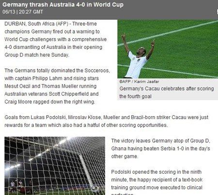 法新社:德国进攻惊人 澳大利亚或尽早出局