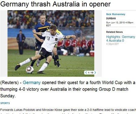 路透社:德国首战血洗对手 红牌摧毁澳大利亚