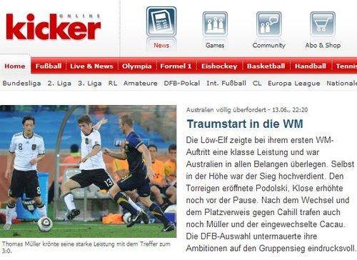踢球者:德国轻取澳大利亚 年轻球员让人兴奋