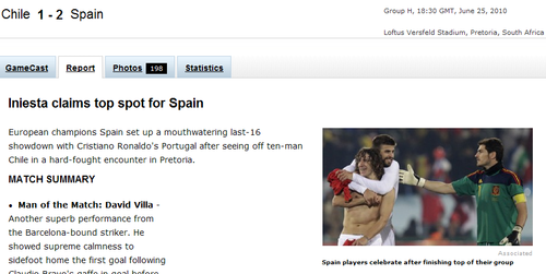 espn:西班牙稳健出线 智利攻势足球挑战巴西