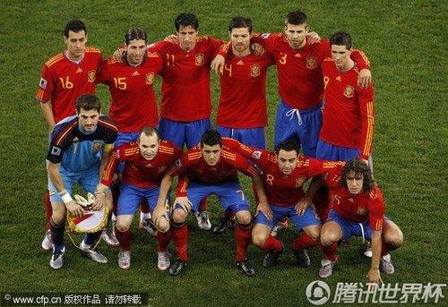 图文:西班牙VS葡萄牙 西班牙球队合影