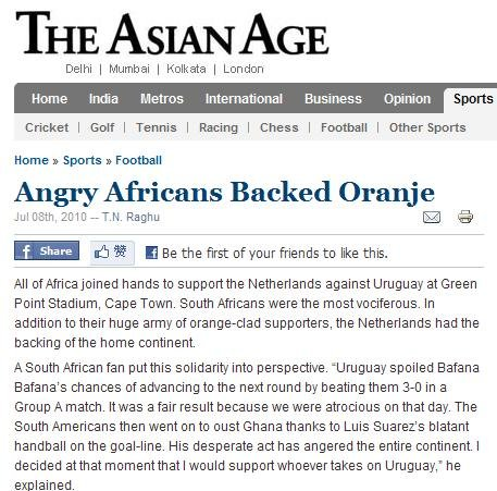 非洲球迷清一色挺荷兰:感谢你们捉住乌拉圭