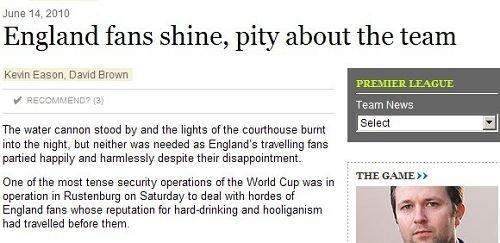 英格兰球迷获南非警方盛赞:这次我们不流氓