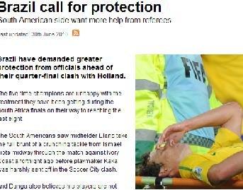 技术性球员未受保护 邓加领巴西全队炮轰裁判