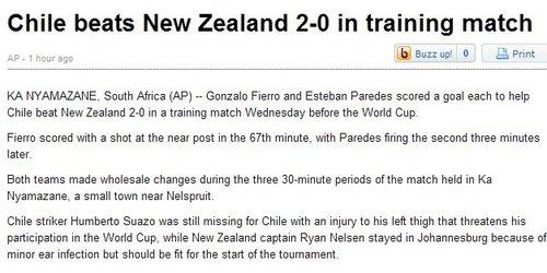 美联社:智利2比0轻取新西兰 苏亚索遗憾缺阵