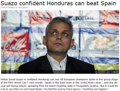 洪都拉斯主帅信心足 苏亚佐:我们能胜西班牙