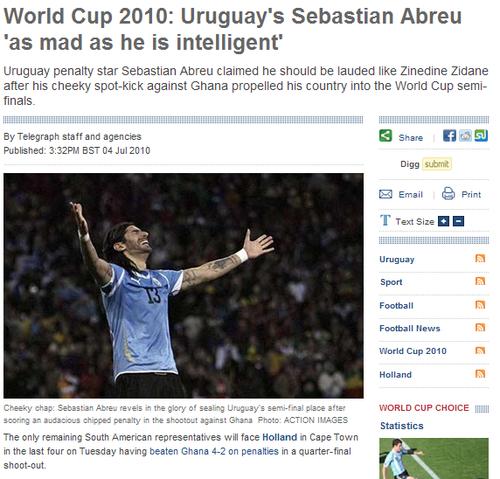 乌拉圭点球大师自比齐达内 下战平等对话荷兰