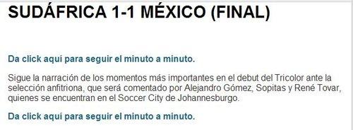 记录报:世界杯首战 马科斯助墨西哥1-1南非